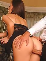 Beautiful brunette pornstar riding on hard cock