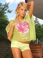 Busty blonde pornstar Clara G is fisting outdoor
