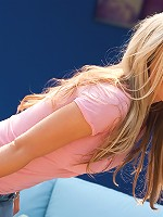 Kayden Kross pops out of her tight pink shirt