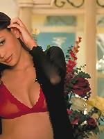 Jade pulls down her red bra