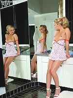 Sarah Peachez Teasing in Front of Mirror