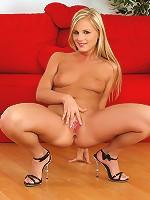 Rebecca - Luscious blonde fucks glass dildo