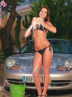 Venus - Car washing vixen spreads her pussy