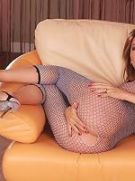 Jazmine - Vixen in fishnet outfit dildos twat