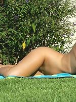 Britney - Luscious brunette dildo drills twat
